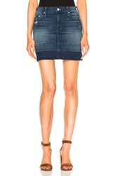 Mother Undone Hem Mini Skirt In Blue