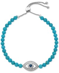 Giani Bernini Cubic Zirconia And Dyed Howlite 15 3 8 Ct. T.W. Evil Eye Slider Bracelet In Sterling Silver Only At Macy's