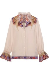 Etro Ruffled Paisley Print Silk Georgette Blouse Off White