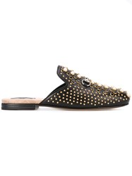 Gucci Princetown Studded Mules Women Silk Leather 38 Black