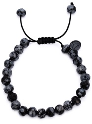 Joseph Brooks Obsidian Beaded Necklace Grey