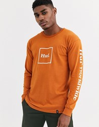 Huf Domestic Box Logo Long Sleeve T Shirt With Arm Print In Orange