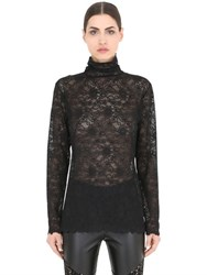 Pierre Mantoux Lace Turtleneck Top