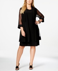 R And M Richards Plus Size Embellished Cocktail Dress And Duster Jacket Black