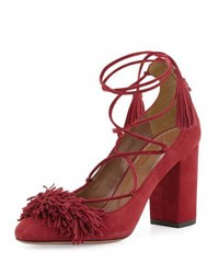 Aquazzura Wild Thing Fringe Block Heel Pump Pomegranate