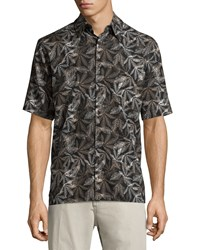 Neiman Marcus Leaf Print Short Sleeve Shirt Black