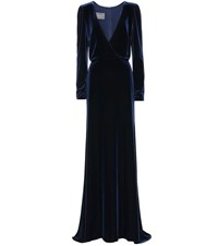 Monique Lhuillier Velvet Gown Blue