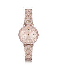 Emporio Armani Kappa Stainless Steel Women's Quartz Watch W Signature Leather Strap Nude