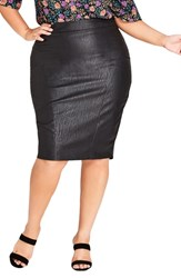 City Chic Plus Size Truth Faux Leather Pencil Skirt Black