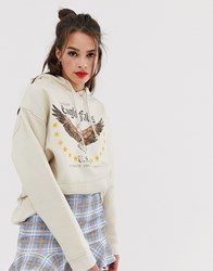 Daisy Street Hoodie With Eagle Graphics Cream