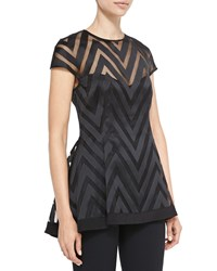 Lela Rose Cap Sleeve Sheer Zigzag Blouse Black