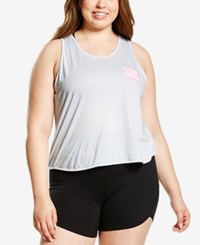 Soffe Plus Size Graphic Racerback Cropped Tank Top Cloudblue