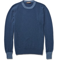 Loro Piana Contrast Trim Baby Cashmere Sweater Blue