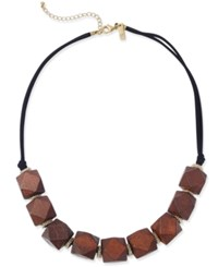 Inc International Concepts Gold Tone And Geometric Wood Statement Necklace Only At Macy's Black