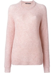 Blk Dnm Ribbed Crew Neck Sweater Pink And Purple