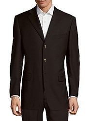 Pal Zileri Solid Notch Lapel Woolen Jacket Navy