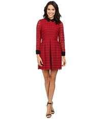 Jill Stuart Venice Lace Short Dress With Long Sleeves And Collar Currant Women's Dress Red