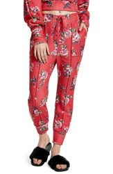 Afrm Women's Lace Up Jogger Pants Red Rose