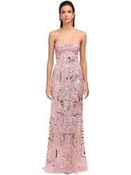 Zuhair Murad Embellished Lace Strapless Mermaid Dress Pink