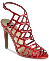 G By Guess Berrit Caged Dress Sandals Women's Shoes Bold Cherry