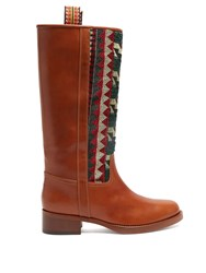 Etro Embroidered Leather Riding Boots Tan Multi