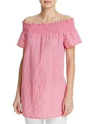 Michael Michael Kors Off The Shoulder Gingham Gauze Tunic 100 Exclusive Electric Pink