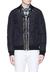 Dsquared Leather Collar Down Puffer Jacket Blue