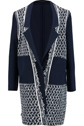 Roland Mouret Marah Boucle And Crepe Coat Navy
