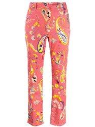 Etro Floral Print Fitted Jeans Pink