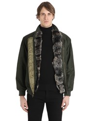Mrandmrs Italy Coyote Fur Lined Nylon Bomber Jacket