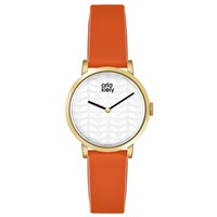Orla Kiely Luna Leather Strap Watch Orange Silver