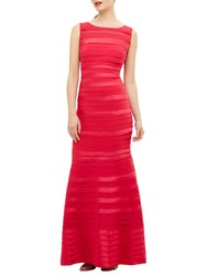 Phase Eight Shannon Layered Mermaid Hem Sleeveless Floor Length Dress Bright Pink