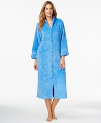 Charter Club Long Dimple Zip Front Robe Iris Mist