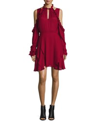 Iro Hanie Cold Shoulder Voile Dress Wine