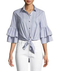 Ella Moss Ruffle Sleeve Striped Tie Front Cotton Blend Blouse Light Blue