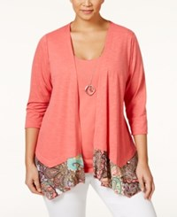 Ny Collection Plus Size Layered Look Top Coral Multi