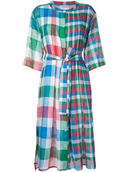 Tsumori Chisato Checked Pleated Bib Dress Women Cotton M