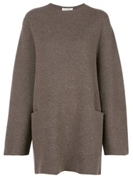 The Row Oversized Knit Jumper Brown