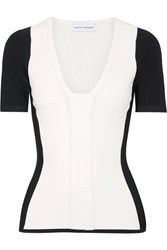 Narciso Rodriguez Two Tone Stretch Knit Top White