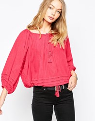 Denim And Supply Ralph Lauren Denim And Supply By Ralph Lauren Boho Long Sleeve Blouse Red