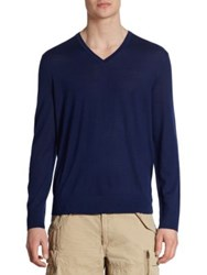 Polo Ralph Lauren Extra Fine Merino Wool Silk And Cashmere V Neck Sweater Navy