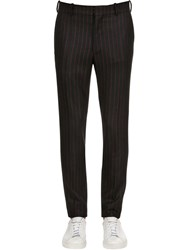 Alexander Mcqueen 17Cm Striped Wool Trousers Black Red