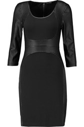 Tart Collections Roxy Perforated Faux Leather And Crepe Dress Black
