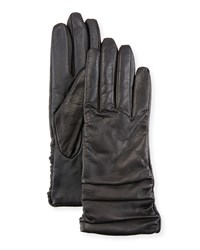 Neiman Marcus Ruched Leather Tech Gloves Black