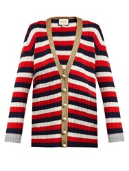 Gucci Striped V Neck Wool And Cashmere Blend Cardigan Blue Multi