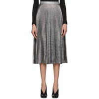 Christopher Kane Black And Silver Lame Mesh Pleated Skirt