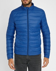 Ikks Blue Down Jacket With Manhattan Printed Lining
