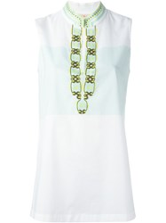 Tory Burch Mandarin Neck Front Slit Tank White