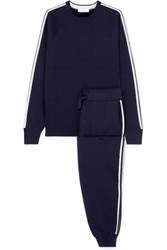 Olivia Von Halle Missy Paris Striped Silk Blend Sweatshirt And Track Pants Set Navy
