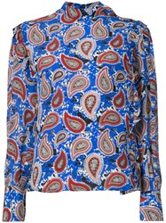 Dodo Bar Or Paisley Print Blouse Women Silk 40 Blue